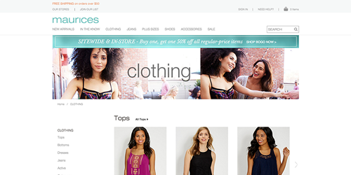 A thumbnail of the maurices website.