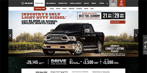 A thumbnail of the RAM Trucks website.